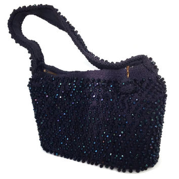 Vintage Beaded Handbag - Box Purse -1940's - Midnight Blue -Iridescent Blue Beads - Faceted Beads - Retro Ladies Pocketbook