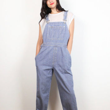 Vintage 90s GAP Overalls Railroad Conductor Striped Blue White Denim Overalls Long Dungarees 1990s Soft Grunge Jumpsuit Romper Jean M Medium