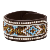 Mandy Faux Leather Bracelet - Brown