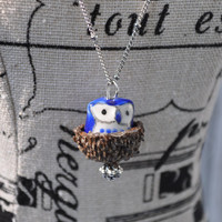 Blue  Acorn Necklace Ceramic Bead Handmade Jewelry Gifts Silver Chain