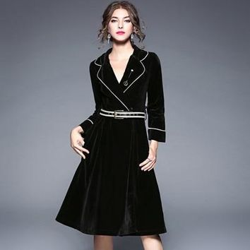 Velvet A-line Solid Long Sleeve Notched Collar Business Wear Midi Dress