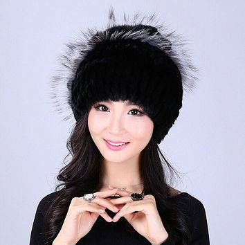 Winter women rex rabbit fur hat with fox fur flowers skullies knitted beanies 2016 hot fashion good quality ladies real fur caps