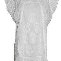 Womens Peasant Tunic Cotton White Paisley Embroidered Beach Coverup (Chest:46)