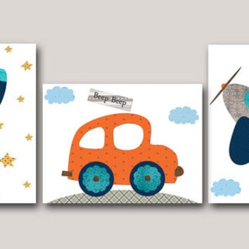 Navy Blue Gray Car Rocket Plane Canvas Wall Art Nursery Art Print Childrens Wall Art Baby Boy Nursery Art Nursery Decor Boy set of 3