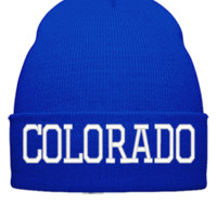 COLORADO EMBROIDERY HAT - Beanie Cuffed Knit Cap