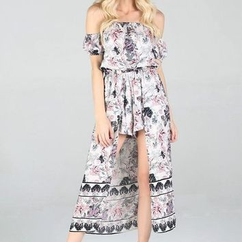 2018 Summer Women's Floral Maxi Romper With Surplus the New Misses Line