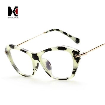 SHAUNA Vintage Cat Eye Frame Brand Designer Fashion Blue Rays Protection Clear Lens Glasses Women Reading Eyeglasses