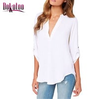 Dokotoo 2017 new summer Ladies Sexy Black White V Neck Loose Fitting Chiffon Blouse 7 colors LC25767 shirt women top on sale