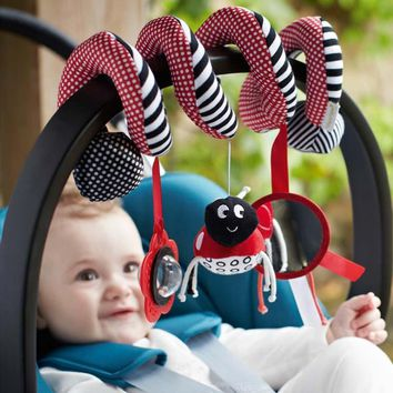 Cute Baby Toy Hanging Activity Striped Flower Ladybug Shape and Baby Stroller Toy Set Hanging Bell Baby Carriage Vocal Toys