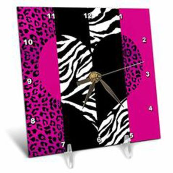 3dRose dc_35437_1 Pink Black and White Animal Print-Leopard and Zebra Heart-Desk Clock, 6 by 6-Inch - Sears