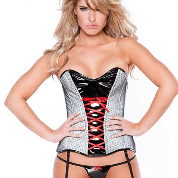 White Vinyl and Black Mesh Corset Set