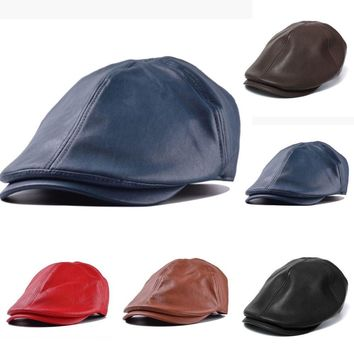 Solid Leather Gatsby Cap Ivy Hat Golf Driver Men Women Flat Cabbie Newsboy New