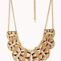 FOREVER 21 Cutout Scalloped Bib Necklace Gold/Red One