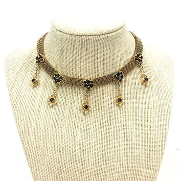 Hobe Gold & Rhinestone Choker, Diamond Shape Dangles, Book Chain, Adjustable Length, Wedding Jewelry, 1950s Vintage Jewelry