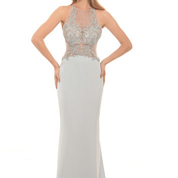 Eleni Elias P446 Ice Blue Jeweled Illusion Top Prom Dress Evening Gown