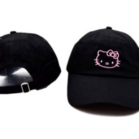 Black Hello Kitty Embroidered Cotton Baseball Cap