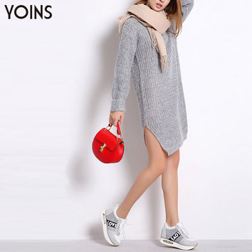 YOINS 2016 New Arrival Women Spring Long Sleeve Knitted Dress Sexy Split Mini Dress Sweater Dresses Warm Casual Long Pullovers