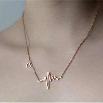 DCCKWQA Trendy Gold/SIlver Plated Heartbeat Necklace