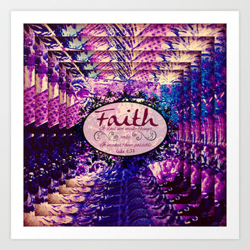 FAITH Colorful Purple Christian Luke Bible Verse Inspiration Believe Floral Modern Typography Art Art Print by The Faithful Canvas