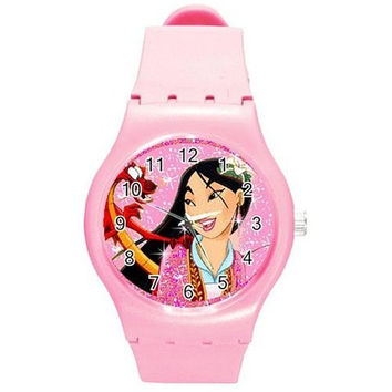Mulan and Mushu on Girls Pink Plastic Watch & Band