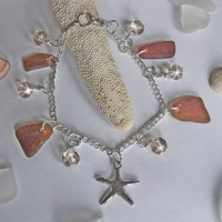 Amber Brown Sea Glass Bracelet with Crystals and Starfish