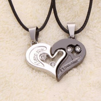 Mens Stainless Steel Chain Black Heart Love Necklaces for Couples with CZ Korean Ladies Trendy Paired Pendants Model