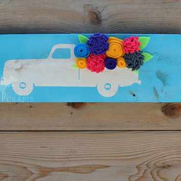Rustic Wood Vintage truck Flowers Wall Art - Felt flowers, reclaimed wood, distressed wall decor, country chic, aqua,spring,summer