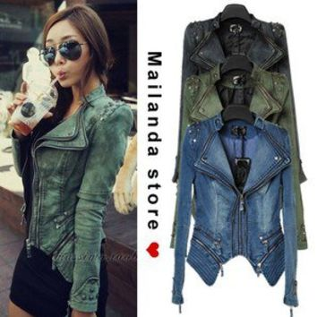 Sexy Studded Punk Shoulder Lapel Jeans Denim Jacket Blazer Women Coat Biker New