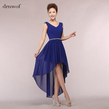 Free Shipping 2017 Double Shoulder Long Chiffon Women Bridesmaid Dresses Wedding Party Prom Gown Dress V-neck Sleeveless 4 8 12