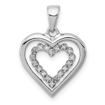 1/20 Carat Diamond Double Heart Pendant in Sterling Silver Necklace