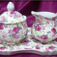 3 Piece Double Pink Rose on White Chintz Porcelain Creamer Set on Tray Satin Lined Gift Box