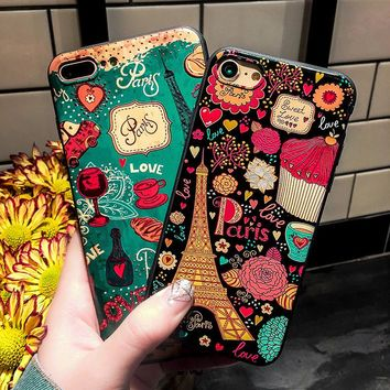 Fashion Flower Eiffel Tower Silicone Full Body Case for iPhone 7 6 6s 5 5s Case soft Phone Cases Back Cover for 7 6 plus Coque