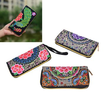 JETTING Vintage Embroidery Purse Exquisite Handmade Embroidered Women Long Wallet Linen Party Day Clutch Handbag National foral