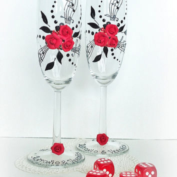 Beautiful Hand Decorated ( Red ) Wedding Anniversary Champagne Glasses Toasting Flutes with Beads  Roses and Music Notes by Elena Joliefleur