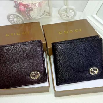 Gucci cross section Leather Fashion Wallet [305721049117]