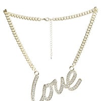 Rhinestone Love Script Necklace | Shop Jewelry at Wet Seal
