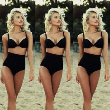 High Waist Vintage Swimsuit Set