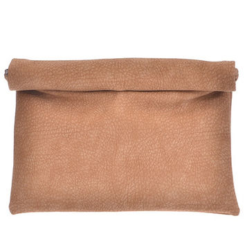 Tan Faux Leather Oversized Rolled Clutch Bag Purse
