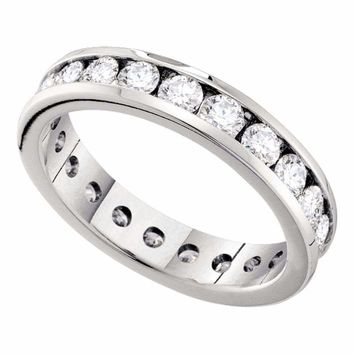 14kt White Gold Women's Round Channel-set Diamond Eternity Wedding Anniversary Band 1.00 Cttw - FREE Shipping (US/CAN)