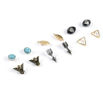 Stone + Locket Feather & Arrow Multipack Stud Earrings