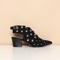 Square Studded Wrap Ankle Strap Bootie - Black