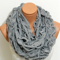 knitting machine infinity Scarf Block Infinity Scarf. Loop Scarf, Circle Scarf, Neck Warmer. Grey  infinity