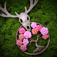 Deer Skull Pendant Rose Tree of Life Pendant Copper Tree Necklace Wire Wrapped Tree of Life Deer Antler pendant