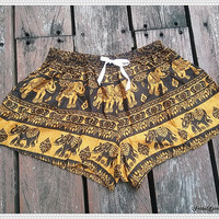 Yellow Elephant Shorts Art Printed For Beach Summer Hippie Comfy Exotic Boho Clothing Aztec Ethnic Bohemian Ikat Boxers Pants from Thailand
