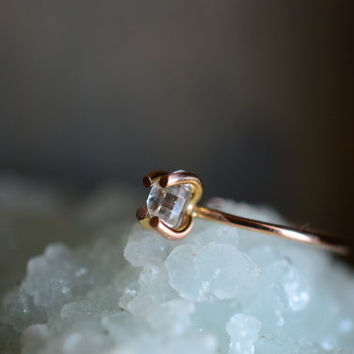 Mixed Metal Herkimer Ring. Solid 14k Gold and Rose Gold Ring. Herkimer Quartz Engagement Ring. Raw Quartz Simple Ring. Delicate Everyday