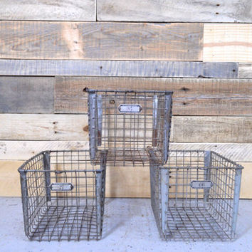 Vintage Wire Baskets, Gym Locker Basket, Industrial Wire Basket, Storage Basket, The Washburn Company, Worcester Mass, Rockford ILL