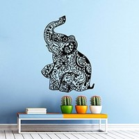 Elephant Wall Decal Indian Pattern Om Sign Decal Vinyl Sticker Wall Decor Home Interior Design Art vk99