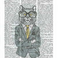 Mr.Kitty Dictionary Art Print on Upcycle Vintage Page Book Print Art Print Dictionary Print Collage Print