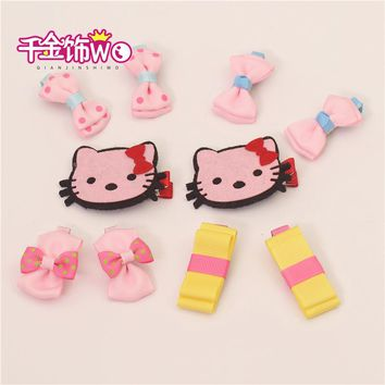 10Pcs/Set Princess Girls Kid Hair Accessories Cute Child Bow Hairpins Hair Clips Carton Hello Kitty Elastic Band Headdress