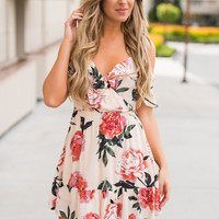 Saturday Swing Ruffle Off the Shoulder V Neck Swing Dress (Blush)